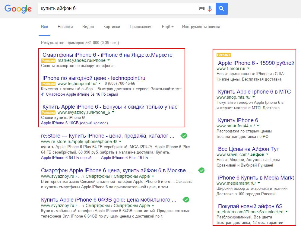 Рекламные объявления Google Adwords