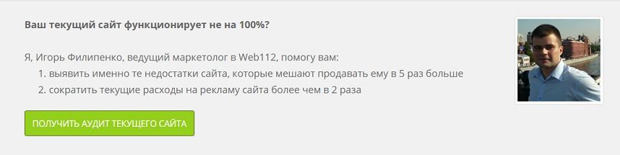 Надпись накнопке «Получить аудит текущего сайта»